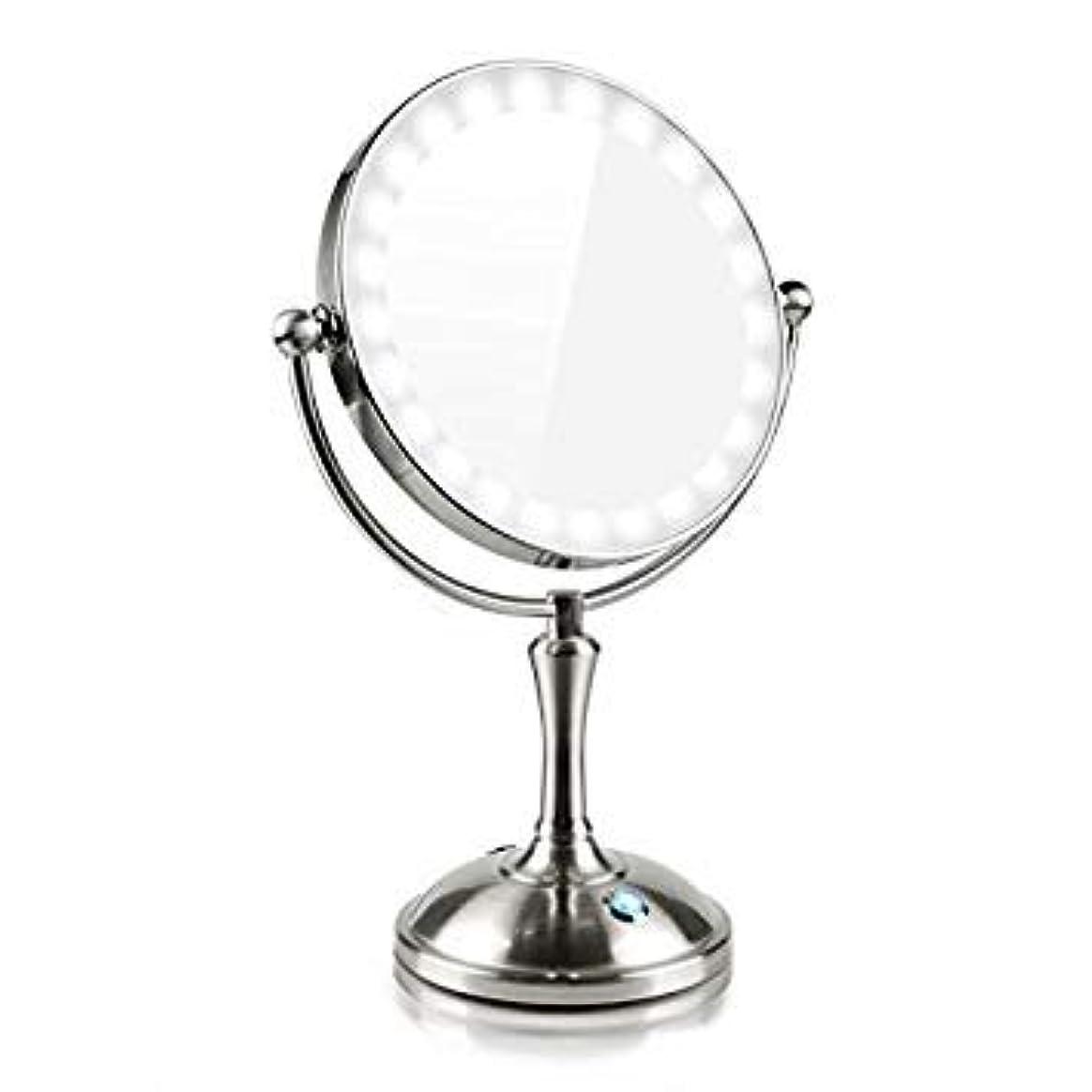 カフェテリア悲劇的な大学生化粧鏡 LEDの両面鏡 7倍拡大鏡 360度回転 卓上鏡 スタンドミラー メイク 化粧道具 有線ワイヤレスミラーライト タッチ制御で調光 USB/電池給電