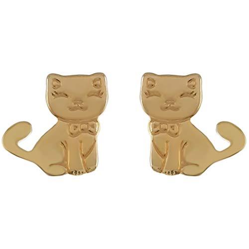 Pendientes de gato chapado en oro 750/000 – Niño
