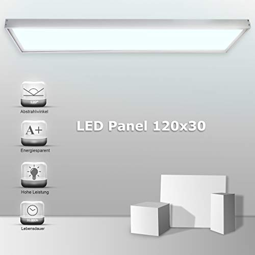 Vkele LED Panel Deckenleuchte 120x30cm High Lumen Wandleuchte Kaltweiß 6000K, 48W, 4800 lumen, Silberrahmen, mit Led Panel Aufbaurahmen Set Silber für Schlafzimmer, Fitnessraum, Büro etc