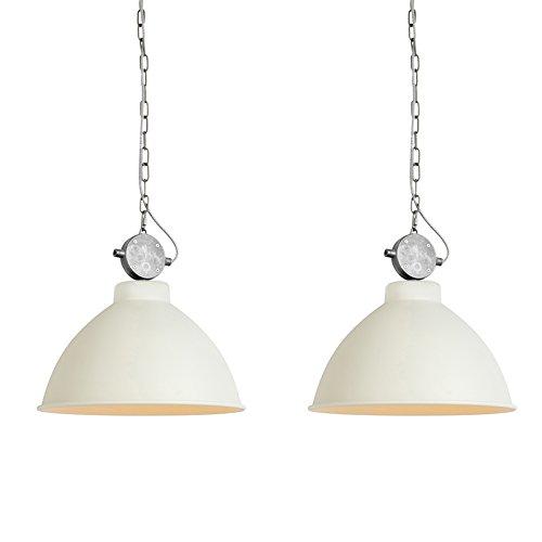 QAZQA Landhaus/Vintage/Rustikal 2er Set Country Hängelampen weiß - Anterio 38 / Innenbeleuchtung/Wohnzimmerlampe/Schlafzimmer/Küche Metall Rund LED geeignet E27 Max. 1 x 60 Watt
