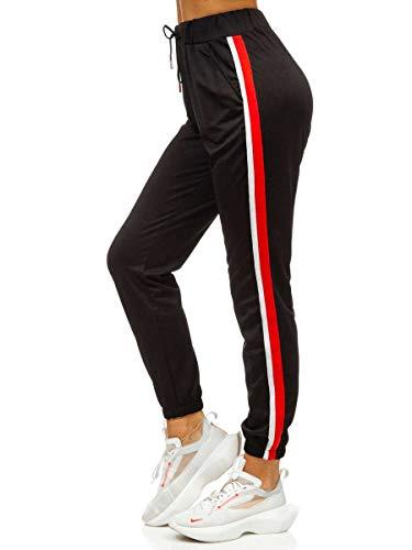 BOLF Damen Jogginghose Sporthose Trainingshose Freizeithose Sweatpants Jogger Sweathose Fitnesshose Jogpants Baumwolle Slim Fit Must W6588 Schwarz XXL [F6F]