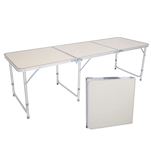 Aluminum Folding Table 6 Feet Adjustable Height, Lightweight and Portable Camping Table (White, 70.86 x 23.62 x 27.56 Inches)
