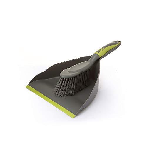 Handy Dustpan and Brush Set for Home Kitchen Floor Clean Brush and Dustpan Set for Floor Desk Cleaning Comfort Grip Multi Function Dust Broom Brush - Gray Green
