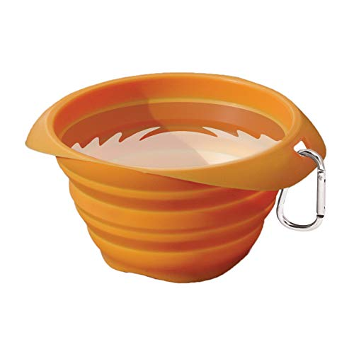 Kurgo Collapsible & Portable Travel Dog Bowl for Food & Water | Portable Water for Dogs | Food Grade Silicone Collapsible Dog Bowl | Pet Travel Accessories | BPA Free | Holdsup to 24 oz (Orange)