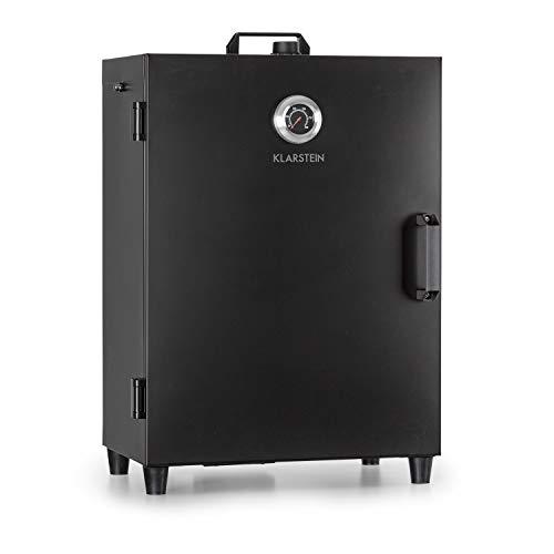 Klarstein Flintstone - Räucherschrank,Räucherofen, Black Stainless Steel, 1600 Watt, regelbarer Thermostat, integriertes Thermometer, 3 Räucherroste, doppelwandige Edelstahltür, Mattschwarz