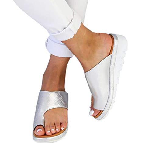 Sandales Plates Femmes Confortables Orthopedique Chaussures Plateforme - 2020 Newest Été Sandales Femmes Sandales Plates Toe T-Sangle Comfy Semi Trailer Sandales Chaussures de Plage (Style D, 38)