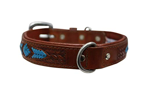 of leather dogs dec 2021 theres one clear winner Genuine Top Grain Leather Western Tooled Dog Collar   Handmade   Super Soft & Strong   Padded Dog Collar   Brass & Stainless Steel Hardware   20
