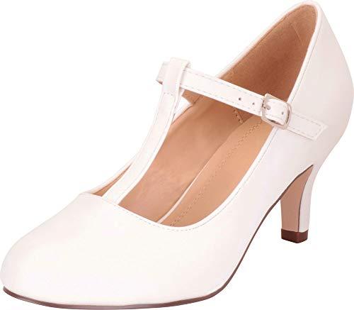 Cambridge Select Women's Retro Pinup T-Strap Mary Jane Mid Heel Pump,10 B(M) US,White PU