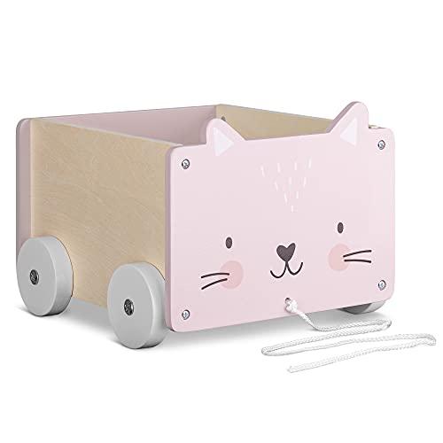 Navaris Caja de almacenamiento de juguetes - Baúl de madera para almacenaje en habitación de los niños - Cubo con ruedas y diseño de gato - Unisex