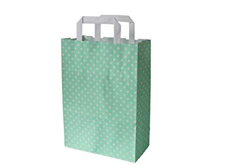 Papiertragetaschen mit Flachhenkel Punkte Mint - Verschiedene Größen und Mengen (18 + 8 x 22 cm, 100 Stück)