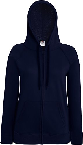 Fruit of the Loom Lady-Fit Lightweight Hooded Sweat Jacket 62-150-0 XL,Deep Navy