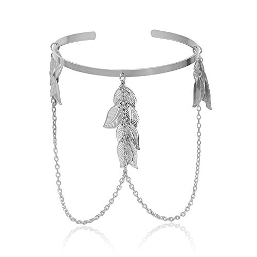 ZYYXB Pulsera de brazo romana griega clásica del brazo superior del brazo de las muchachas del brazalete de la joyería de la cadena y de la hoja del brazo del brazo del brazo de la borla geométrica,