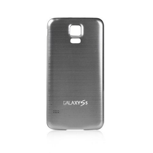 Goliton® Gebürstetes Aluminium Gehäuse Batterie Rückabdeckung Hülle Schutzhülle Batteriedeckel Akkudeckel für Samsung Galaxy S5 V i9600 - Silber + Schwarz (Seite)