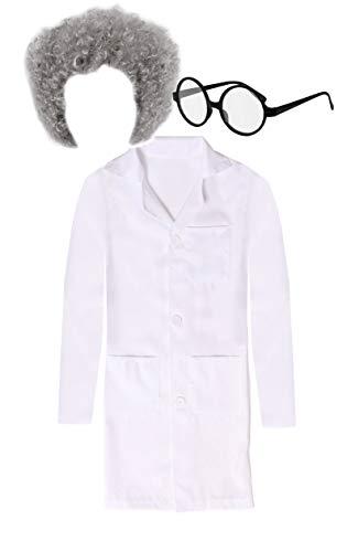 infantil científico Disfraz con Peluca y Gafas - Blanco Bata de laboratorio Plus Gris Rizada - Perfecto Para HALLOWEEN DISFRACES TEMÁTICA - Disponible en 4 Diferentes tamaños: pequeño,mediano,GRANDES