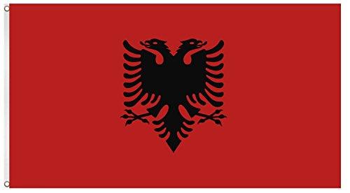Blackshirt Company Albanien Fahne Albanische National Länder Flagge mit Ösen 150 x 90 cm Farbe Mehrfarbig