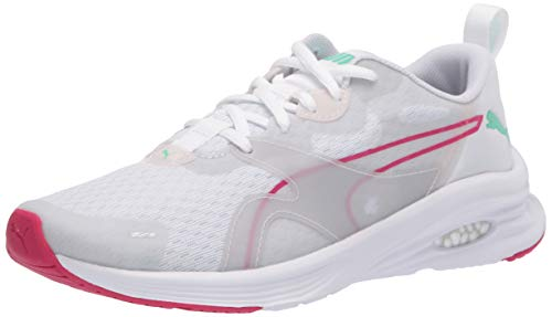 PUMA Women's Hybrid Fuego Sneaker, White-Rosewater-Green Glimmer, 6.5 M US
