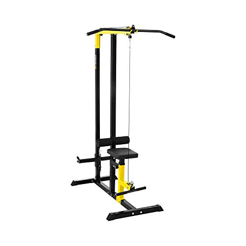 Gymrex Lat Pulldown Machine Home Fitness Multifunctional Multi Gym For Back Arm Ab Exercises Cable Lat Station Workout GR-LP11 (120kg, Padded, Height Adjustable Seat, Steel Frame)