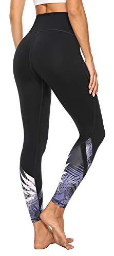 AFITNE - Pantalones de Yoga con Cintura Alta y Bolsillos para Mujer, con Control de Abdomen, no Transparentes, elásticos en 4 direcciones, Leggings de Yoga atlético - Negro - Small