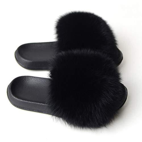 Zapatillas de Pelo Esponjoso de Moda Zapatos caseros para Mujer Diapositivas de Piel sintética Sandalias Planas de Suela Interior Zapatillas sólidas Ligeras