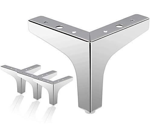 Metall Möbelfüße, 4 Stück Ersatz Dreieck Tischbeine, geeignet für Schrank, Sofa, Couchtisch, TV-Schrank und andere Möbelbeine. (Chrom 10cm)