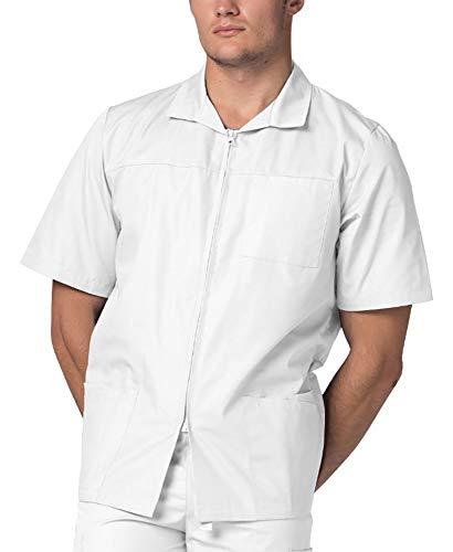 Adar Prendas médicas para Hombre - Chaqueta médica de Manga Corta con Cremallera - 607 - White - M