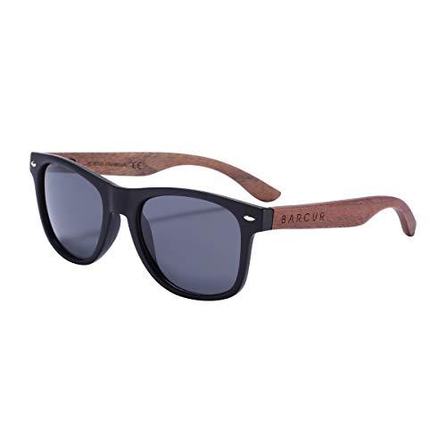 Barcur - Gafas de sol polarizadas de madera de nogal para hombres y mujeres con tubo de bambú o caja negra, (Matteblackframe Graylens - Caja con cremallera), Medium