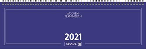 BRUNNEN 1077501301 Tischkalender/Querterminbuch Modell 775, 2 Seiten = 1 Woche, 420 x 137 mm, Karton-Umschlag blau, Kalendarium 2021, Wire-O-Bindung