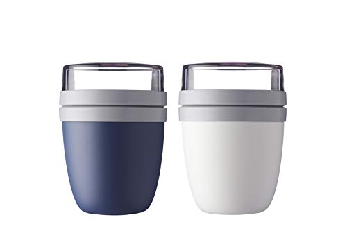 Mepal Lunchpot Ellipse 2-er Set Lunchbox (Nordic Denim und Weiss)