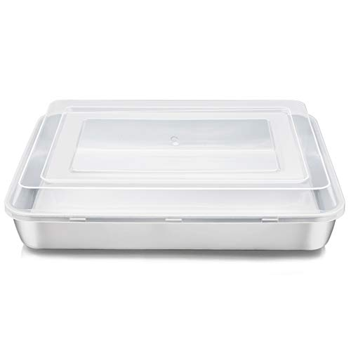 Stainless Steel Baking Pan with Lid, E-far 12⅓ x 9¾ x 2 Inch Rectangle Sheet Cake Pans with Covers Bakeware for Cakes Brownies Casseroles, Non-toxic & Healthy, Heavy Duty & Dishwasher Safe