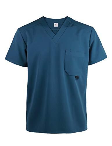 JONATHAN UNIFORM Unisex Camice Medico Respirante con Scollo a V Tasca Casacca Ospedaliera Uniforme Ospedale Scrub Top (Blu,L)