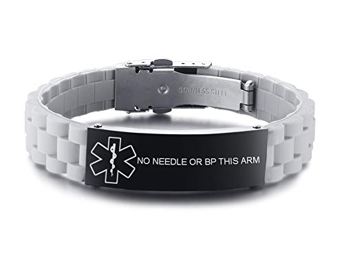 VNOX NO Needles OR BP This ARM Medical Alert ID Grey Silicone Rubber Stainless Steel Adjust Bracelet
