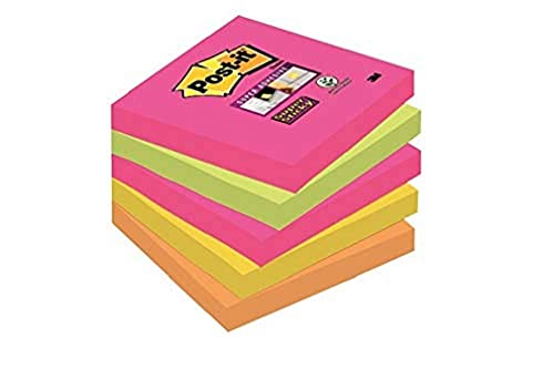Post-It Super Sticky 654S-N - Pack de 5 blocs de notas, 90 hojas/bloc, Cape Town (Amarillo Neón/Verde Neón/Rosa Fucsia/Naranja Neón)