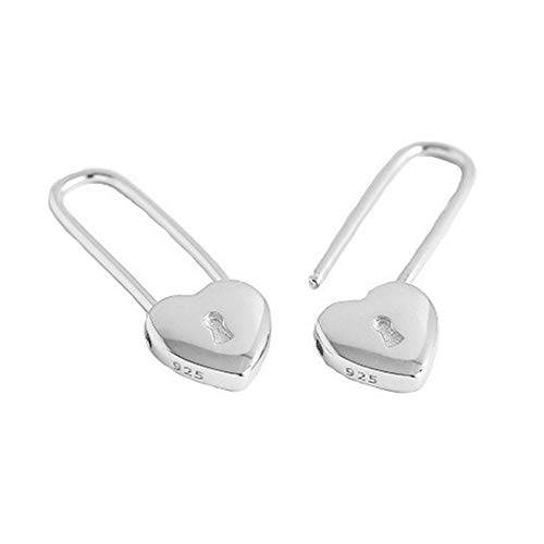 Heart Safety Pin Sterling Silver Small Hoop Earrings for Women Girls Minimalist Huggie Hoops Cute Love Lock Cartilage Drop Dangle Earring Fashion Birthday Valentine Jewelry Gifts 15mm (Silver)