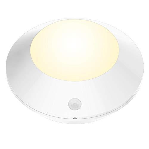 BIGLIGHT Luz de techo LED con sensor de movimiento, luz de disco inalámbrica que funciona con pilas, luz de barra para estante, mostrador, cocina   baño   armario, luz de pasillo con 250 lúmenes