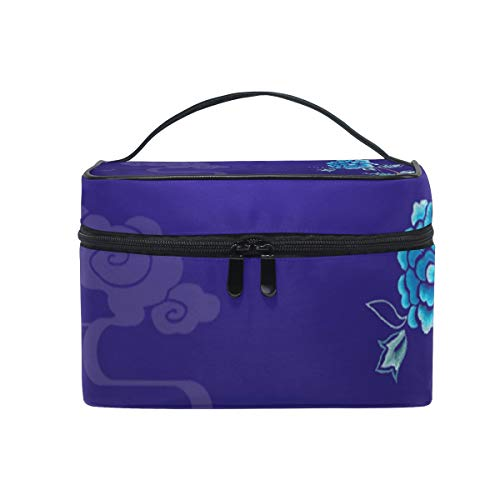 Makeup Bag Morandi Peony Blue Portable Large Cosmetic Toiletry Brush Bag Travel Train Case Organizer Box Pouch for Girls Women