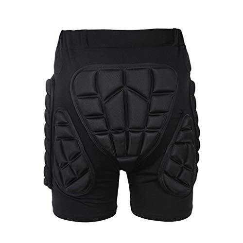 Yuanu Unisex Cómodo Transpirable Antichoque Resistente al Desgaste Pantalones Cortos con Amortiguación, Proteccion Cadera para Ciclismo Rodillo Patinaje Motos Deportivas Extremos Negro L