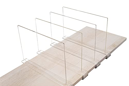 A & R 4 Pack Acrylic Shelf Dividers - Clear Vertical Closet Organizer Set for Kitchen Cabinets, Closets, Bookshelves, Display Cabinets, Shoe Racks - Simple Installation - Adjustable Separators