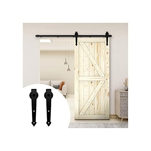 6.6FT/200cm Herrajes para Puertas Correderas Juego de Rieles para Puertas de Granero Kit de Puerta Corredera para Puerta Simple