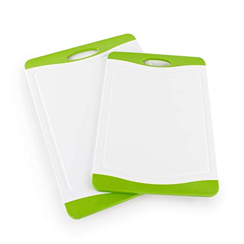 Neoflam 2 Piece Plastic Cutting Board Set, 17'', 14'' Extra Large, Microban Protection, Stain & Odor Free, BPA Free, Juice Groove, Non Slip, Dishwasher Safe, Easy Grip Handle, White Green