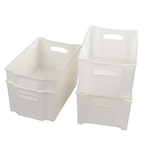 Eudokky Blanco Caja Plástico Almacenaje Rectangular sin Tapa, Cestas Almacenamiento Apilables, 4 Paquetes