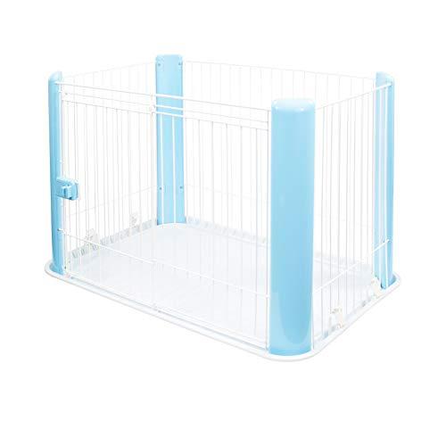 Iris Ohyama, Parque interior para perros / cachorros con base, puerta corredera con pestillo, ganchos para un fácil montaje, para perro - Pet Circle CLS-960 - azul