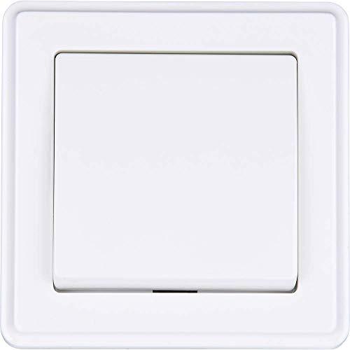HEITECH Unterputz Taster in weiß - Taster 250V AC, 10A, IP20 inkl. Rahmen, Unterputz-Einsatz & Abdeckung - UP Schalter, Lichtschalter, Wipptaster, Lichttaster, Tasterschalter