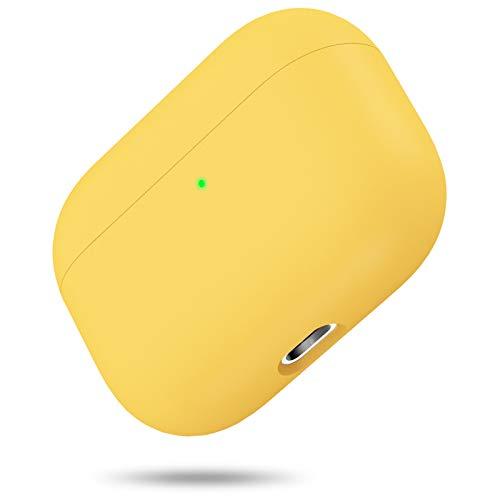 Silikon Hülle Kompatibel mit AirPods Pro, Front LED Sichtbar Hülle für AirPods 3, case für Airpods pro 2019, Zweiteilige Schutzhülle für AirPods Pro, unterstützt Kabelloses Laden(Gelb)