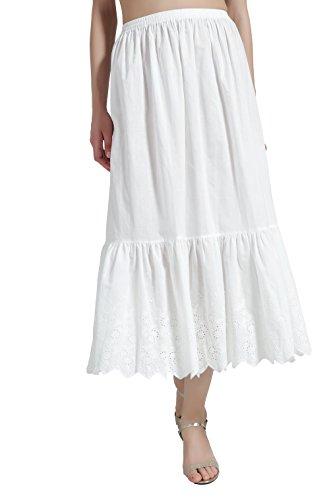 BEAUTELICATE Enaguas de Algodón con Bordado Cortas Antiestática Larga Combinación para Vestidos Antideslizante Plain Falda Marfil