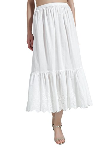 BEAUTELICATE Damen Unterrock 100% Baumwolle Vintage Lang Halbrock mit Spitze Stickerei Dirndl Petticoat  - Elfenbein - Gr. S Passend für EU (34-40)-80cm Länge