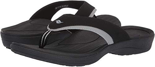 Powerstep Men's Arch Support Orthotic Flip Flop Sandals with Shock Absorbing Sole, Lightweight Non-Slip Tread, Black, 13