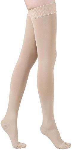 Thigh High Compression Stockings, Firm Support 20-30mmHg with Anti-Slip Silicone Band. Graduated Compression Socks, Opaque, Treatment Swelling, Varicose Veins, Edema, Pregnancy