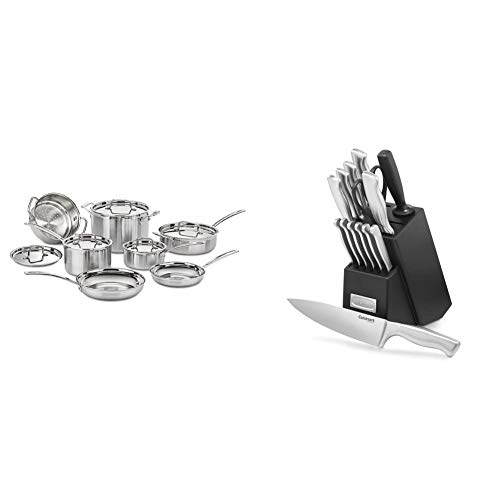 Cuisinart MCP-12N Multiclad Pro Stainless Steel 12-Piece Cookware Set & C77SS-15PK 15-Piece Stainless Steel Hollow Handle Block Set