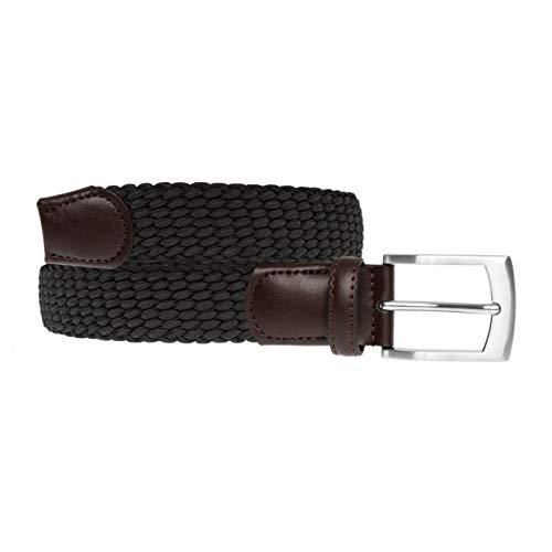 LUUK LIFESTYLE Hochwertiger, elastischer, geflochtener Stretch-Gürtel mit echtem Premium Vollrindleder, Flechtgürtel, Stoffgürtel für Damen und Herren, Geschenkbox, schwarz, 95 cm