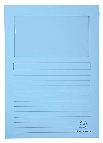 Exacompta Bahia 50150e Pack di 100 cartelle con finestra traslucido 22 x 31 cm, colori assortiti, carta, couleurs assorties